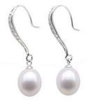 Freshwater pearl drop bridal earrings bulk sale, sterling silver, 7-8mm