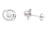 925 sterling silver freshwater pearl stud earrings wholesale, 6-7mm