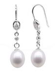 Freshwater dangle pearl earrings discounted sale, sterling silver, 7-8mm