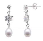 Sterling silver freshwater pearl drop star earrings wholesale, 7-8mm