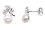 Flower sterling 925 silver freshwater pearl stud earrings on sale, 6-7mm