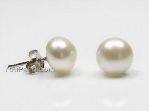8 9mm White Freshwater Pearl Silver Stud Earrings Whole