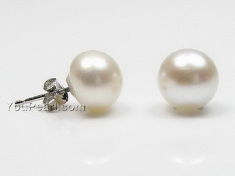 9 10mm White Freshwater Pearl Earring Silver Studs Whole