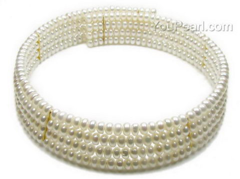 7e6bf946b0856 Striking 4 rows freshwater pearl collar necklace on sale, gold link ...