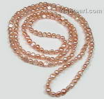 Pink nugget freshwater pearl in opera length for sale, 7-8mm, AA