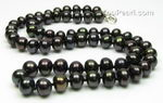 Black button shape cultured freshwater pearl necklace wholesale, 7-8mm