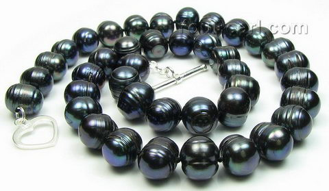 10 11mm freshwater baroque black pearl necklace pearl