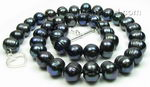 Freshwater baroque black pearl necklace, 10-11mm