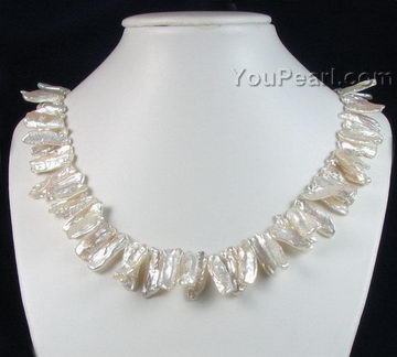 Fresh water biwa stick pearl necklace for sale - pearl jewelry wholesale ed9186b9e2