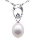Freshwater pearl sterling silver pendant direct online sale, 7-8mm