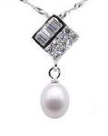 Square freshwater pearl pendant on sale, 925 silver, 7-8mm