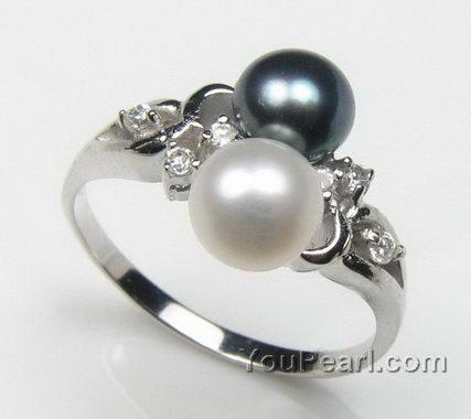 5 6mm black n white fresh water pearl ring bulk sale 925