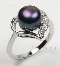 7-8mm 925 silver heart black pearl ring discounted sale, US size 7