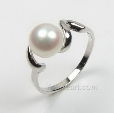 a31b3db80 7-8mm white freshwater pearl ring on sale, 925 sterling silver, US size 7.5