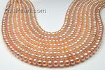 6-7mm button shape pink fresh water pearl strands wholesale