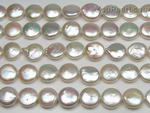 8-10mm white coin freshwater pearl strands wholesale, A