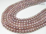 6-7mm potato lavender pearl strands factory direct sale