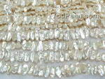 Natural white Biwa freshwater pearl strands wholesale
