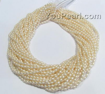 """3 Stands White Rice Pearls 5-6 mm Side Drilled Loose Strand Beads 15/""""  USA Ship"""
