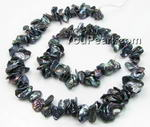 6-8mm black middle-drilled Keishi pearl strands wholesale