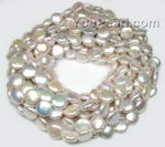13-14mm white coin fresh water pearl strands online wholesale, AA