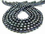 7-8mm black baroque ringed pearl strands on sale
