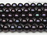 8.5-9.5mm black round freshwater pearl strands wholesale, A+
