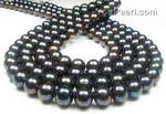 9.5-10.5mm black round fresh water pearl strand direct buy, AA