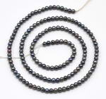2.5-3mm round freshwater seed pearl beads, peacock black pearls on sale