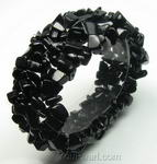 Stretchy multi-strand black onyx gem stone bracelet on discount sale