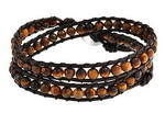 Tiger eye gemstone bead long leather wrap bracelet on sale, 16 inches