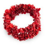 Red coral multi-strand stretchy chip gemstone bracelet wholesale