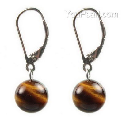 Tiger S Eye Gemstone Leverback Drop Earrings Bulk 10mm Round