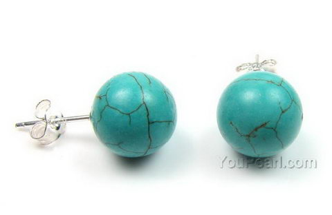 Turquoise Gem Stone Stud Earrings Whole 10mm Round