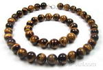 Tiger eye natural necklace & bracelet for sale, 12mm round