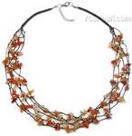 Carnelian multi-strand gemstone tincup necklace on sale