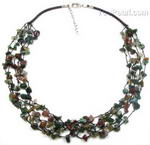 Indian agate natural gem multi-strand tin cup necklace buy online