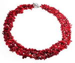 Red coral gem beaded multi-strand necklace wholesale online