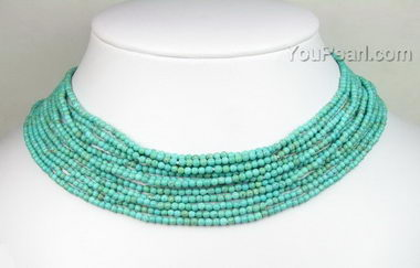 12 Strands Seed Round Turquoise Gemstone Choker Necklace
