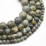 Africa turquoise, 6mm round, natural gemstone bead strand for sale