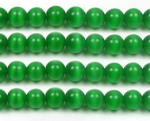 Cats eye, 8mm round, green gem stone beads craft supply