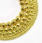 Gold Hematite, 8mm round faceted, gem bead buy bulk online