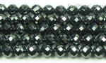 Hematite, 6mm round faceted, natural black gem stone beads on sale
