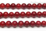 Red coral, 6mm round, natural gemstone strand factory direct sale