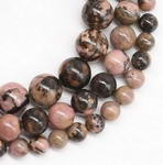 Rhodonite black veins, 10mm round, natural gemstone bead bulk sale