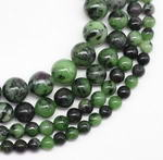 Ruby zoisite, 5mm round, natural gemstone bead strand for sale