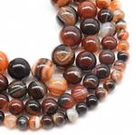 Striped/banded agate, 6mm round, natural gemstone beads on sale