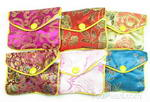 Silk jewelry zip gift pouch wholesale online, 8x6cm, 12 pcs