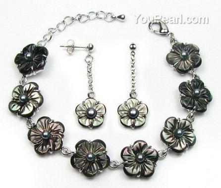 Tahitian Mother Of Pearl Shell Flower Bracelet Amp Earrings