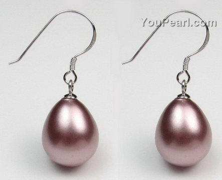 12x18mm Purple Teardrop S Pearl Earrings Bulk Whole